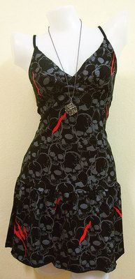 ROCKABILLY Black SKULL Black Women DRESS EMO Print Rock GOTH PUNK New Sz XL