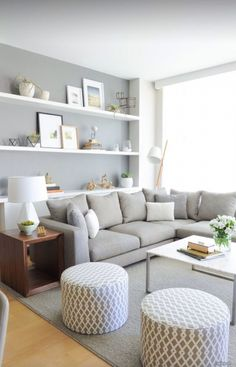 grey accent wall + shelving