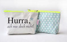 """Schminktäschchen - Kosmetiktasche """"Hurra, ach nee..."""" - ein Designerstück von Taschenliebe bei DaWanda"""
