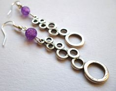 Geometric Circle, Circle Pattern, Purple Glass, Bead Earrings, Silver Color, Glass Beads, Dangles, Handmade Items, My Etsy Shop