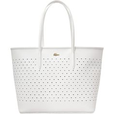 Lacoste Chantaco Medium Shopping Bag (6251180 BYR) ❤ liked on Polyvore featuring bags, handbags, white, shopping tote bags, lacoste handbags, lacoste, white bags and white handbags
