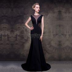 robe de soiree noir sirène en satin longue col V profond transparent dos nu avec traîne