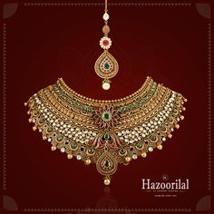 Indulge in extravagance, with this intricately designed #gold choker necklace and maang tikka. Make your wedding the most special day of your lifetime. Visit #HazoorilalJewellersGK for more such designs from our exclusive #WeddingCollection