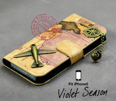 Vintage style world Map iPhone 5 Case Leather by VioletSeason, $15.99