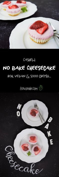 """No bake Cheesecake mit Erdbeeren Vegan, roh & sooo cremig… Wer es nicht weiß, wird es nie erraten, dass in diesen Erdbeer-Käseküchlein gar kein """"Käse"""" bzw. Quark, Frischkäse oder Schichtkäse enthalten ist."""