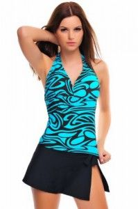 Bathing suits for women Tankini with Bikini( oct-flav-1001-1029-f2531)Turquoise/Brown,Skirt-Black,8 (M) Big SALE