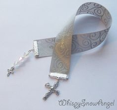 Silver Scrolled Sparkle Cross Ribbon Bookmark by WhispySnowAngel, $5.00