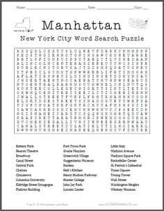 Manhattan, NYC - Word Search Puzzle - This word search puzzle features thirty place names related to the borough of Manhattan in New York City. For grades five and up. Free to print (PDF file).