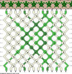 14 Strings, 3 Colors... Turtle friendship bracelet pattern... A beginner pattern... Look at those cute turtles!