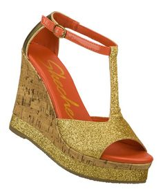 Skechers - Gold Let's Groove Wedge - Zulily