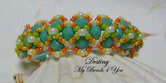 Beaded Bracelet Beadwoven Bracelet Turquoise Beaded by mybeads4you