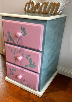 Kids Furniture, Girls Furniture, Draws, Painted Draws, Personalised,  Bedside Table,