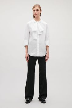 COS image 1 of Shirt with bow neck tie in White