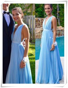 CHIFFON PROM DRESSES, A-LINE STRAPS FLOOR-LENGTH CHIFFON PROM DRESS/EVENING DRESS #MK077