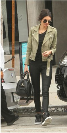 Kendal Jenner in IRO Jova Distressed Leather Jacket.