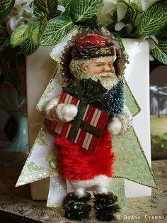Vintage spun cotton santa