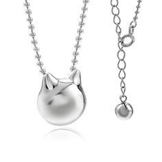 JEWME 925 Sterling Silver Women Kitty Cat Chain Pendant Necklace Hollow Bell ** Visit the image link more details.