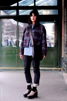 cool shoes, cool jeans, cool plaid... pay that girlfriend. Paris.