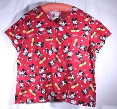 Disney Size 2X See Measurements Scrub Top Minnie Loves Mickey Mouse Red #Disney