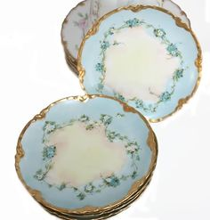 Exceptionally beautiful Antique French Haviland Dessert Plates