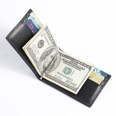 Men's Slim Bifold Leather Wallet Money Clip Credit Card Holder with RFID Blocker