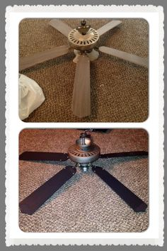 Took an old fan and made it new for $40. At Lowe's - one can of brushed nickel spray paint = $5, 3 up-to-date glass globes $7.50/ea. Painted the blades and voila.