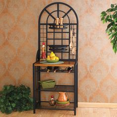Wildon Home   Heights Bakers Rack in Black; could be used for coffee bar