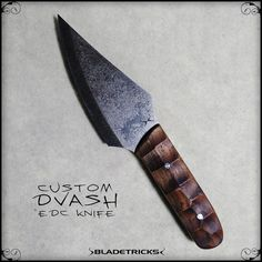 Bladetricks Custom EDC knife Dvash walnut handle