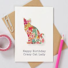 Liberty print cat Mothers day greetings card - Personalised card for mum or mom - Personalized birthday greetings card for her Mother's Day Greeting Cards, Cat Cards, Birthday Greeting Cards, Birthday Greetings, Liberty Print, Liberty Fabric, Fabric Cards, Mothers Day Cards, Flower Cards