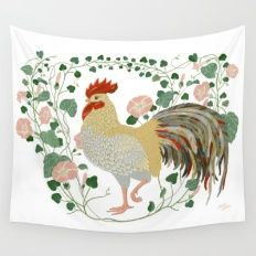 Rooster and morning glory Wall Tapestry