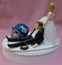 Wedding Cake Topper - New York Giants Football Themed NY Funny