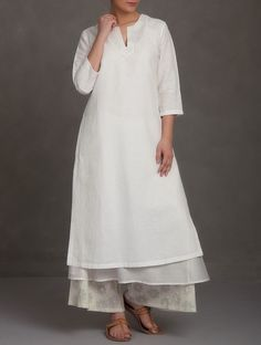 Buy White Embroidered V Neck Cotton Linen Chanderi Kurta Women Kurtas Saumya & Printed Apparel in More Online at Jaypore.com