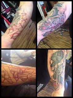Mechanical design, Modz'N'Rockers, Blackpool  #custom #freehand #mechanical #bio #handdrawn #tattoo #tattoos #ink #arm