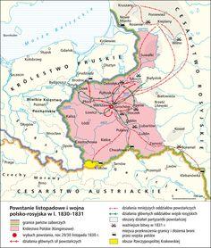 POLAND [1830 -1831] November Uprising & Polish-Russian War Poland History, Old Maps, Central Europe, Historical Maps, Eastern Europe, Roman Empire, World History, Genealogy, Infographic