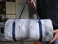 "This very simple duffel bag is my own design and comes in two sizes - the smaller is 18"" x 9"" x 9"", and the larger is 36"" x 18"" X 18"" (it's ..."