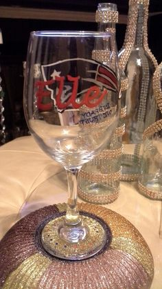 Back view of a NE Patriots wine glass. I hand paired for my daughter...