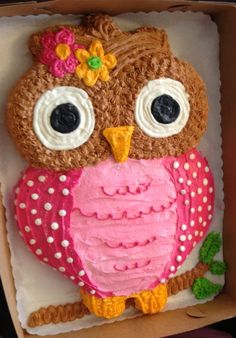 ( Owl Birthday Cake - Teapots and Tractors ) Defo going to give this ago Owl Cake Birthday, Owl Birthday Parties, Birthday Ideas, 3rd Birthday, Cupcakes, Cupcake Cakes, Fruit Cakes, Lila Party, Owl Cakes