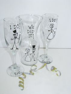 Hand Painted Personalized Wedding  Set of Two Toasting Glasses. $44.00, via Etsy.
