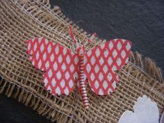 broche papillon rouge et blanc - broches - L'ATELIER D'ELILA - Fait Maison