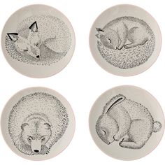 Lot de 4 assiettes Animaux