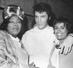 Birthday celebrant Mahalia Jackson with Elvis and Barbara McNair when Elvis and Barbara were making Change of Habit (1969) - his last feature film