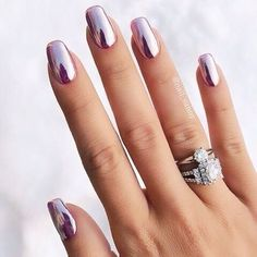 50 Trendy Nail Art Designs to Make You Shine -Amazing Glossy Chrome Nails for You Red Manicure, Manicure E Pedicure, Manicures, Manicure Ideas, Hair And Nails, My Nails, Crome Nails, Uñas Fashion, Travel Fashion