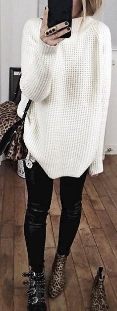 #fall #outfits / oversized white knit