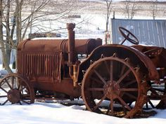 tractor farming with steel wheels