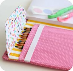 DIY Art Journal: Great Sewing Tutorial from lbg studio. Sewing For Kids, Free Sewing, Diy For Kids, Sewing Hacks, Sewing Tutorials, Sewing Patterns, Art Portfolio Case, Fabric Crafts, Sewing Crafts
