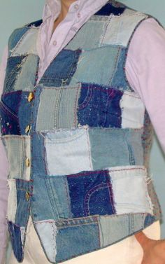 Use Squares cut from old Jeans to make a vest.  You can add a pocket without any problem just cut a square with the pocket.