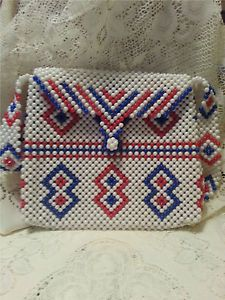 1960's Plastic Bead Purse in Red White & Blue Funky Mod