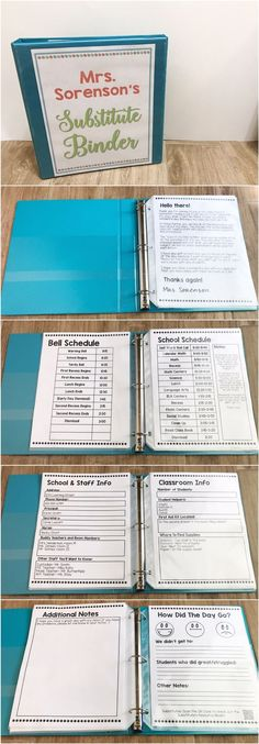Forms included for school & staff info, classroom info, arrival & dismissal, classroom management, emergency procedures & more! An end of the day form is included. Perfect for short and long term subs! Elementary Teacher, Elementary Education, School Teacher, School Staff, Binders For School, Elementary Classroom Themes, Kindergarten Classroom Setup, Education Week, Student Teacher