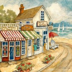 Idyllic Ocean Village Painting by Charlene Olson