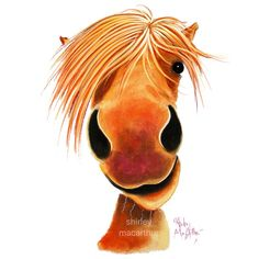 Happy Horse ' GINGER NUT ' by Shirley MacArthur Throw Pillow by shirleymac - Cover x with pillow insert - Indoor Pillo Cartoon Drawings, Animal Drawings, Horse Cartoon Drawing, Horse Wall Art, Cute Horses, Horse Print, Canvas Prints, Art Prints, Animal Paintings